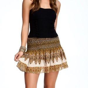 Bebe Boho Smoke Layered Mini Skirt